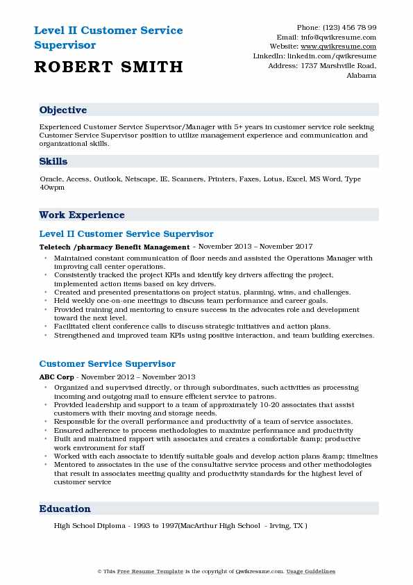 Customer Service Supervisor Resume Samples QwikResume