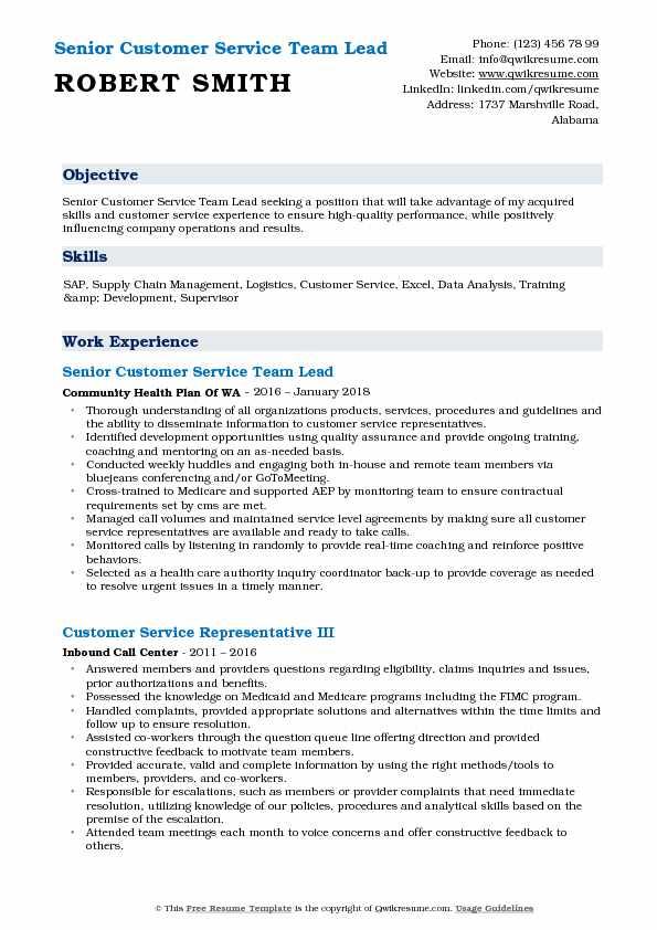 Customer Service Team Lead Resume Samples QwikResume