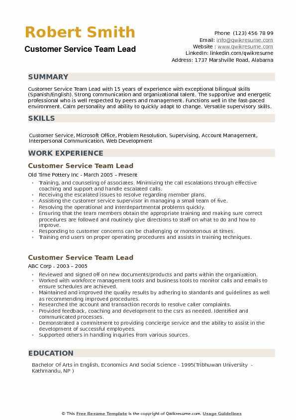 sample customer service team lead resume