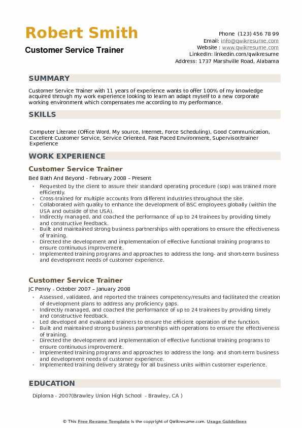trainer resume customer service trainer resume corporate trainer - it trainer sample resume