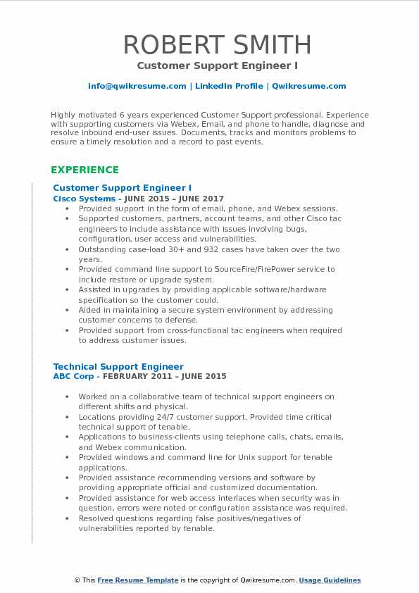 Customer Support Engineer Resume Samples QwikResume