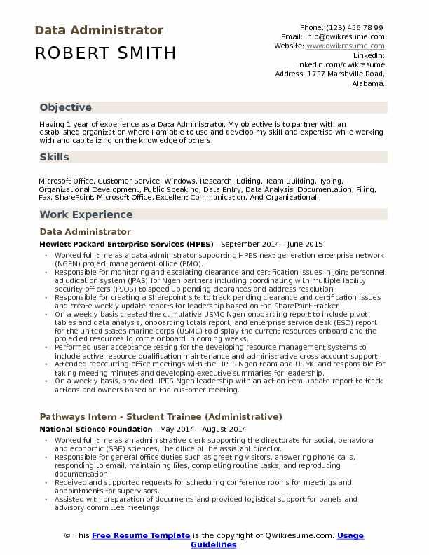 Data Administrator Resume Samples QwikResume