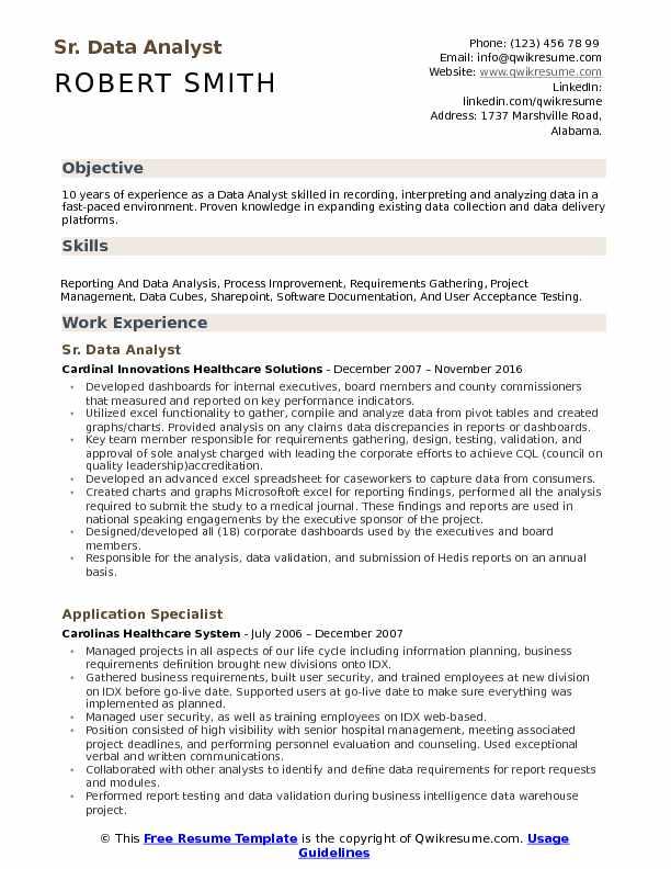 Data Analyst Resume Samples QwikResume