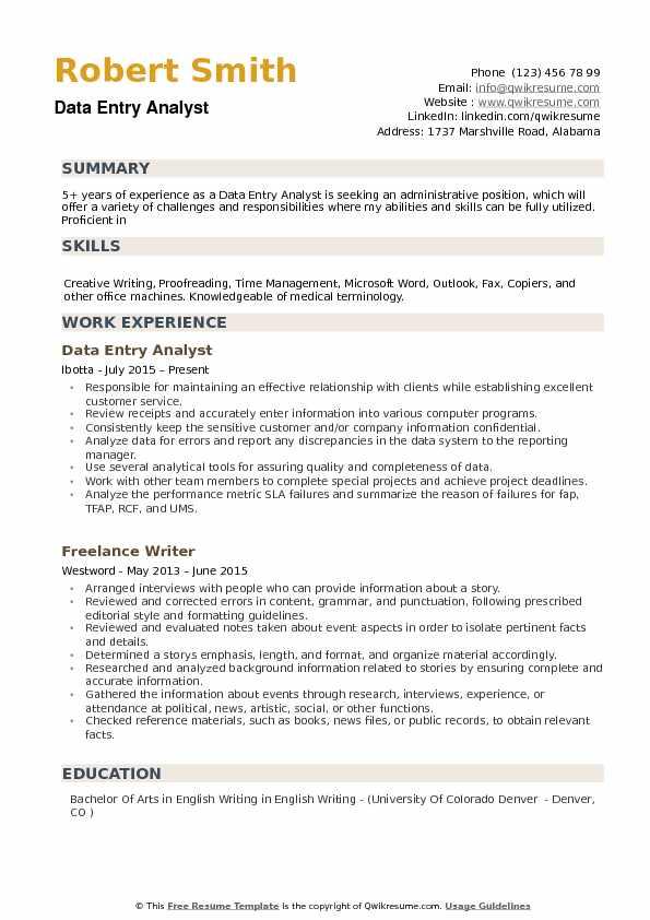 Data Entry Analyst Resume Samples QwikResume