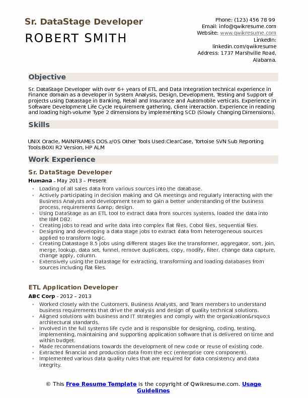 sample datastage developer resume
