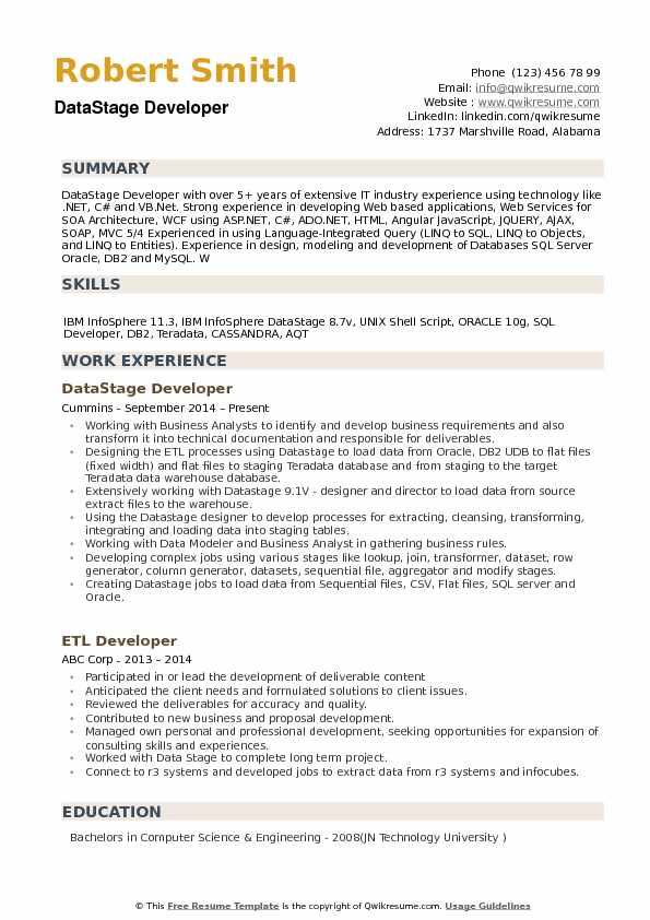 datastage resume example