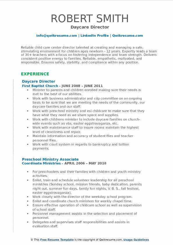 resume profile examples for daycare director