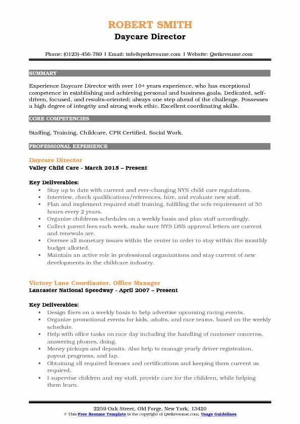 Daycare Director Resume Samples QwikResume