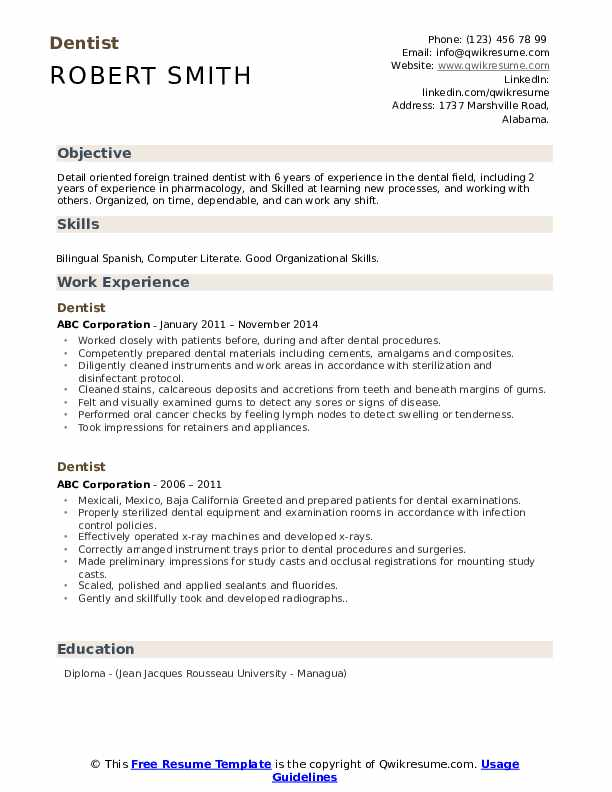 resume objective examples for associate dentists