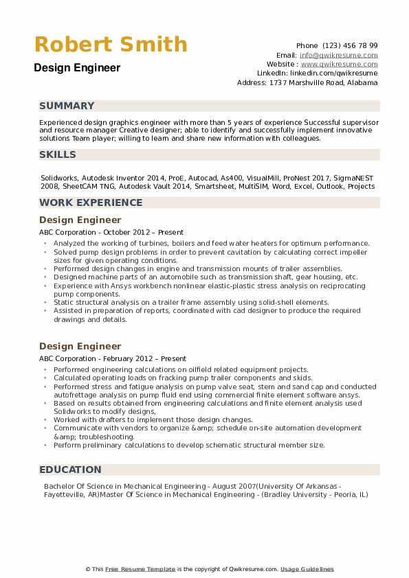 design engineer resume sample pdf