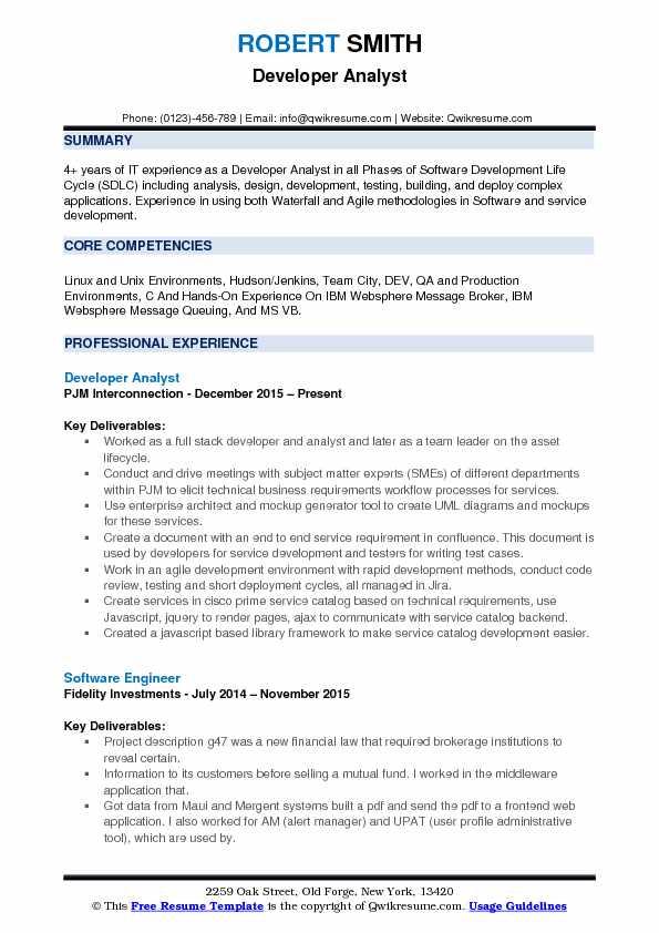 Developer Analyst Resume Samples QwikResume - websphere message broker sample resume