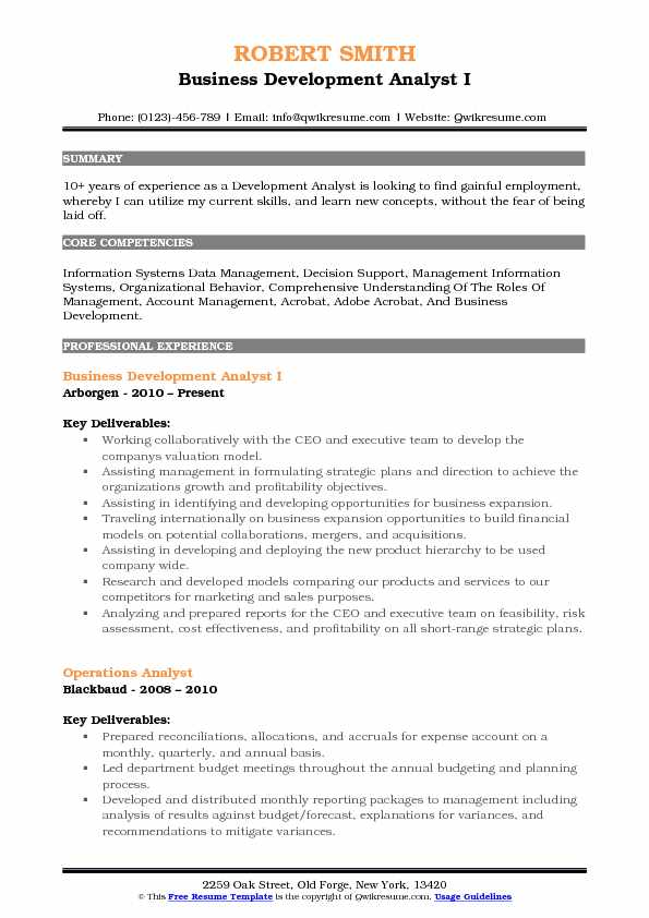 Development Analyst Resume Samples QwikResume
