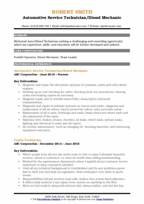 diesel mechanic free sample resume