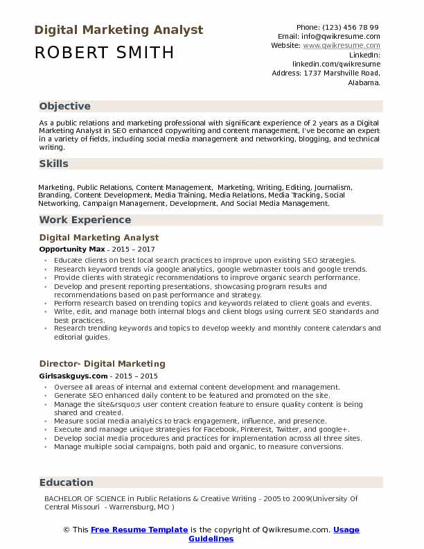 Digital Marketing Analyst Resume Samples QwikResume
