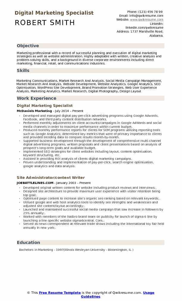 marketing resume samples pdf