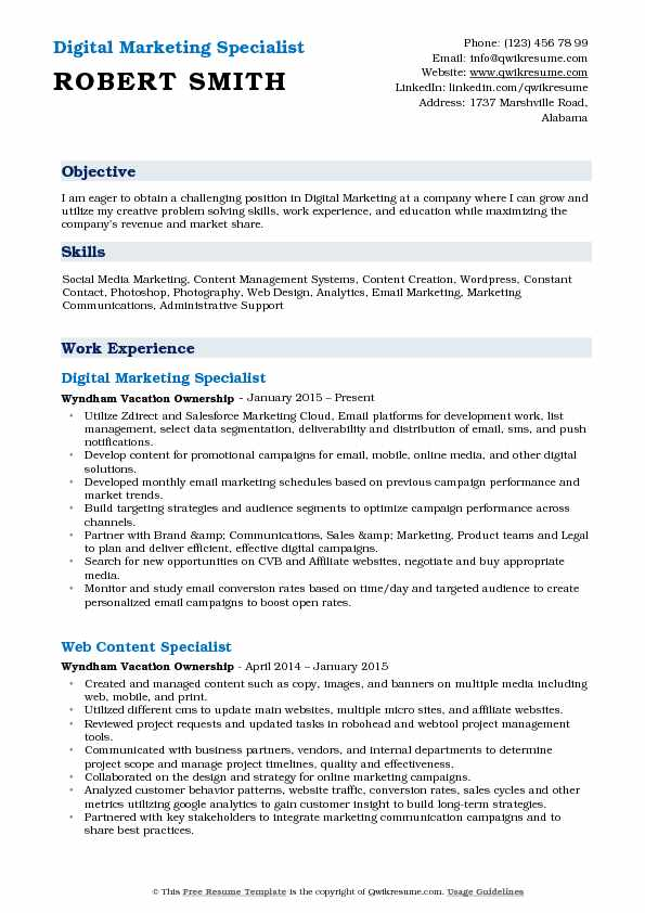 Digital Marketing Specialist Resume Samples QwikResume - marketing specialist resume sample