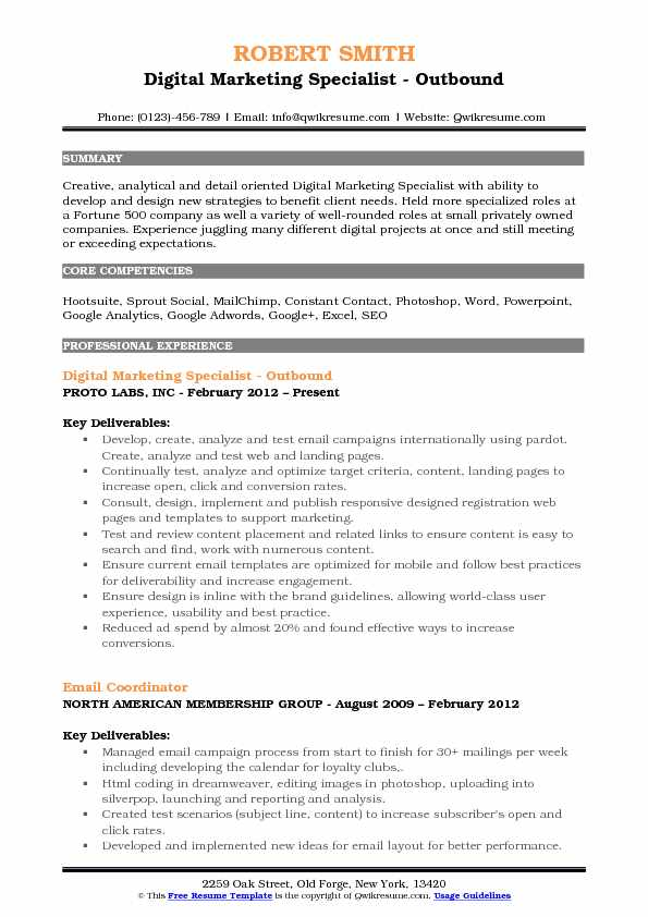 Digital Marketing Specialist Resume Samples QwikResume