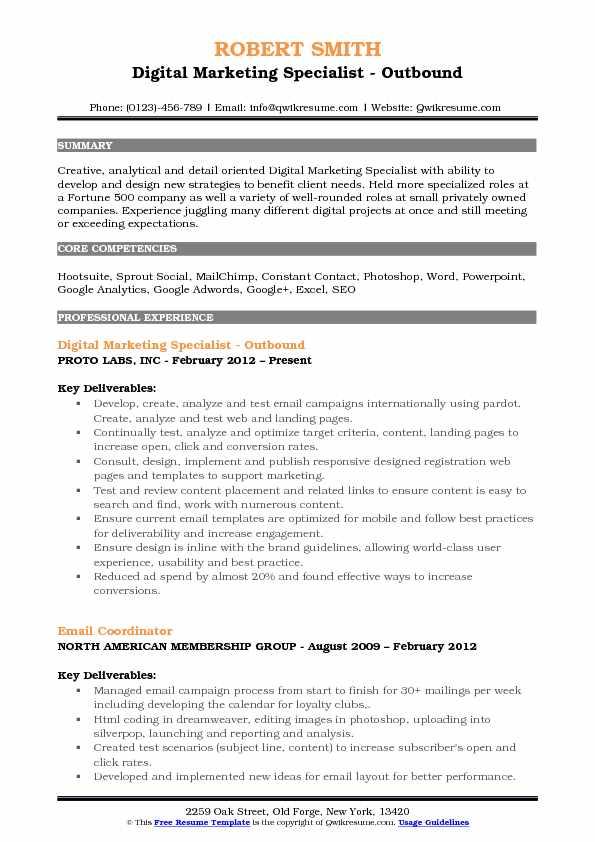 Digital Marketing Specialist Resume Samples QwikResume - detail oriented resume