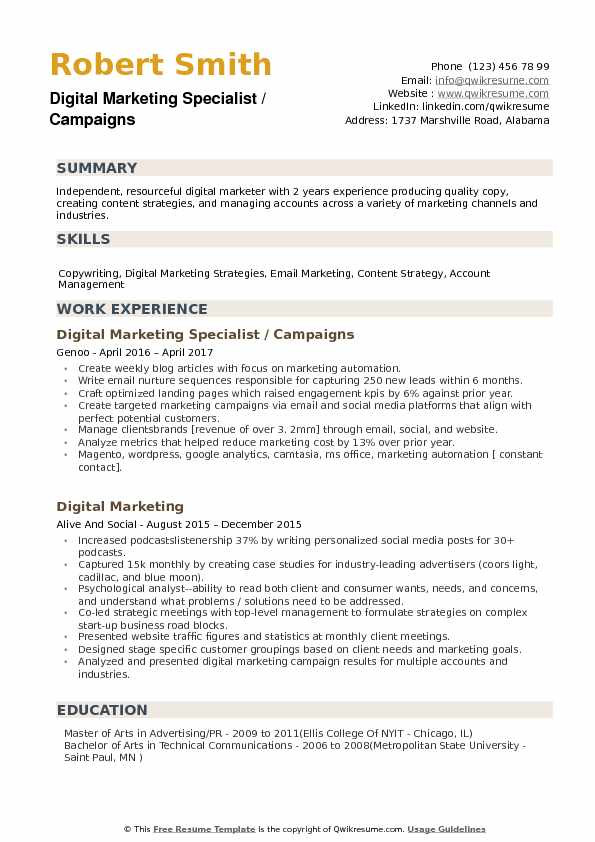 Digital Marketing Specialist Resume Samples QwikResume - Channel Sales Resume