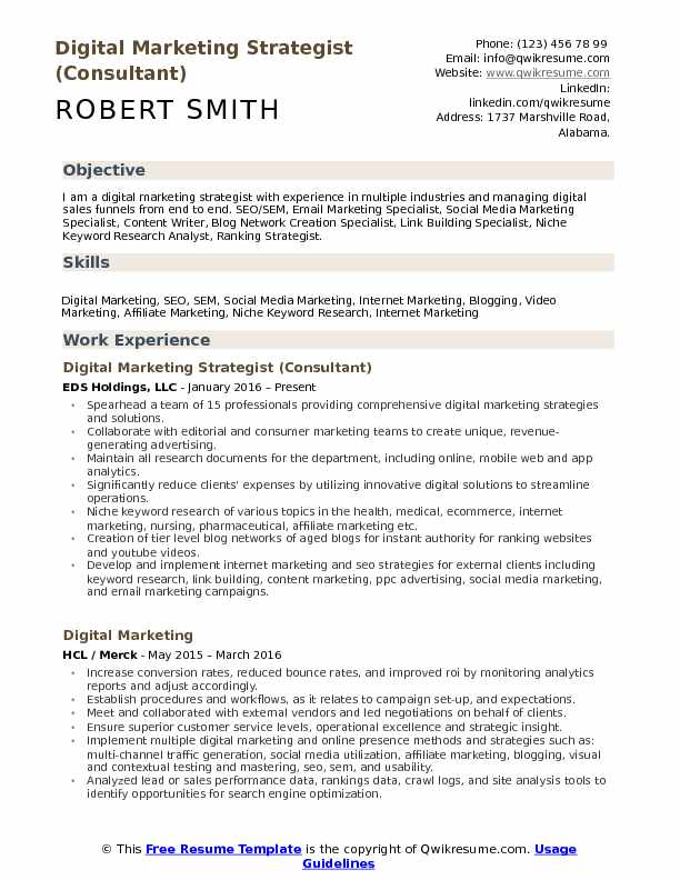 Digital Marketing Strategist Resume Samples QwikResume - Resume Creation