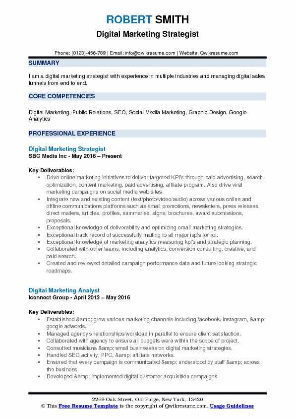 Digital Marketing Strategist Resume Samples QwikResume - digital marketing resume template