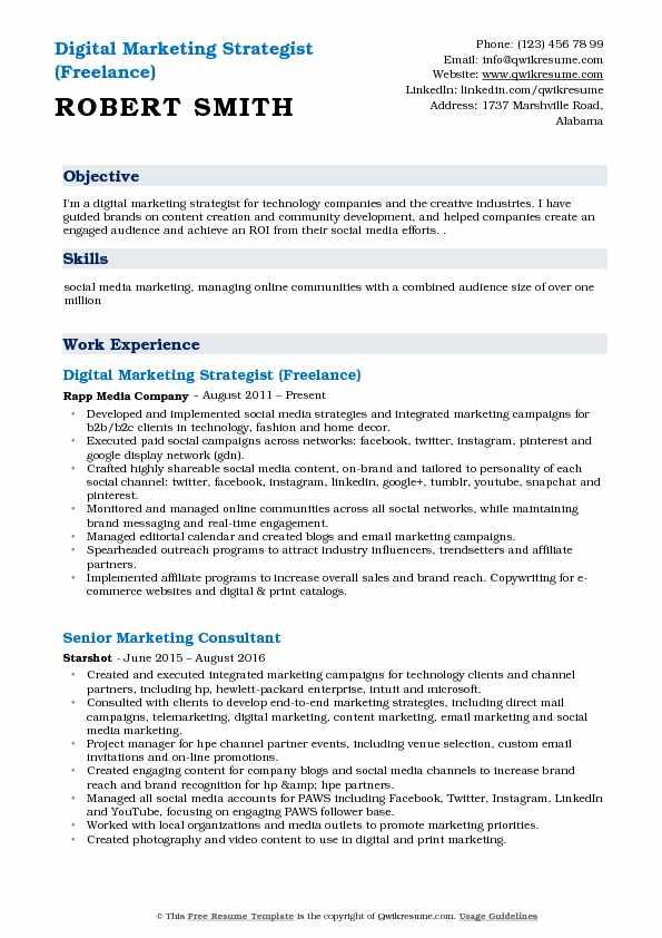 Digital Marketing Strategist Resume Samples QwikResume - social media marketing resume samples