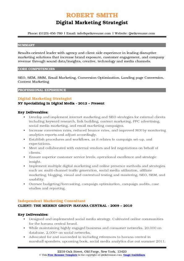 Digital Marketing Strategist Resume Samples QwikResume - Resume Social Media
