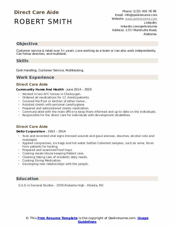 personal care aide resume samples