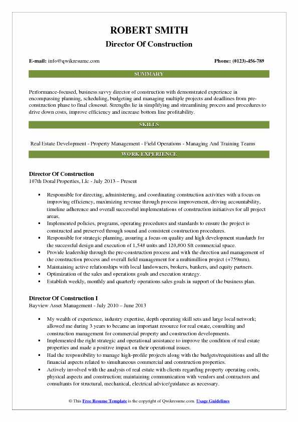 director of construction resume sample