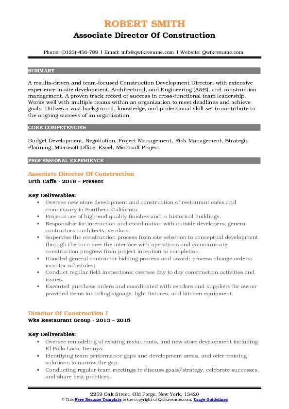 Director of Construction Resume Samples QwikResume