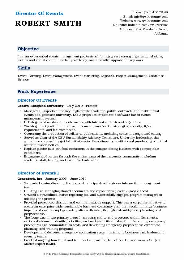 Director of Events Resume Samples QwikResume