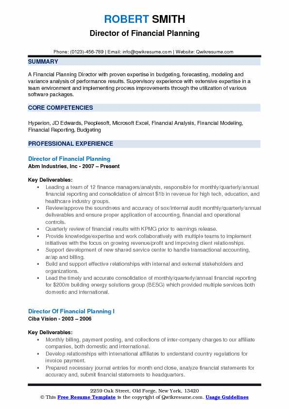 Director of Financial Planning Resume Samples QwikResume