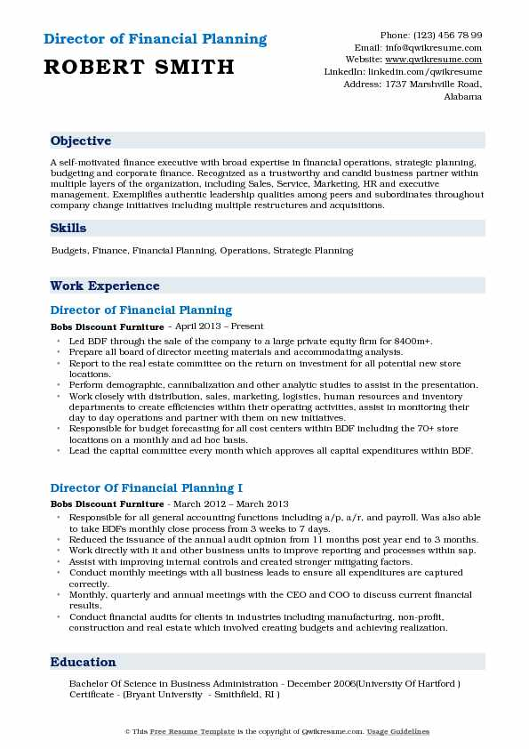 financial planning and analysis resume samples