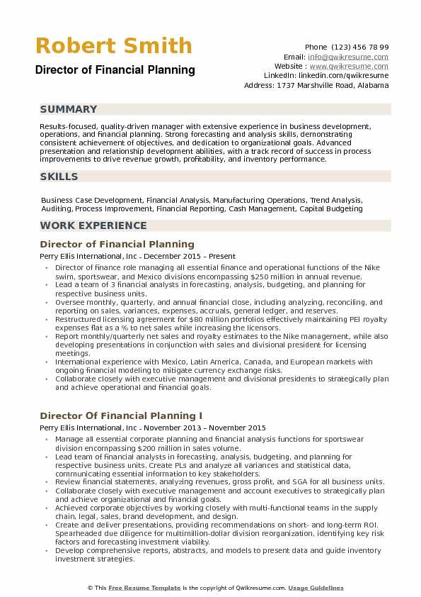 financial planning resume example