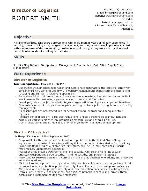 Director of Logistics Resume Samples QwikResume