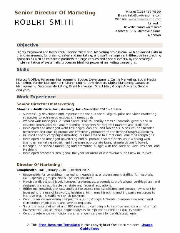 Marketing Director Resume Examples sample cv marketing uk sales