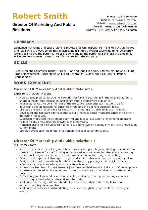 Director of Marketing and Public Relations Resume Samples QwikResume