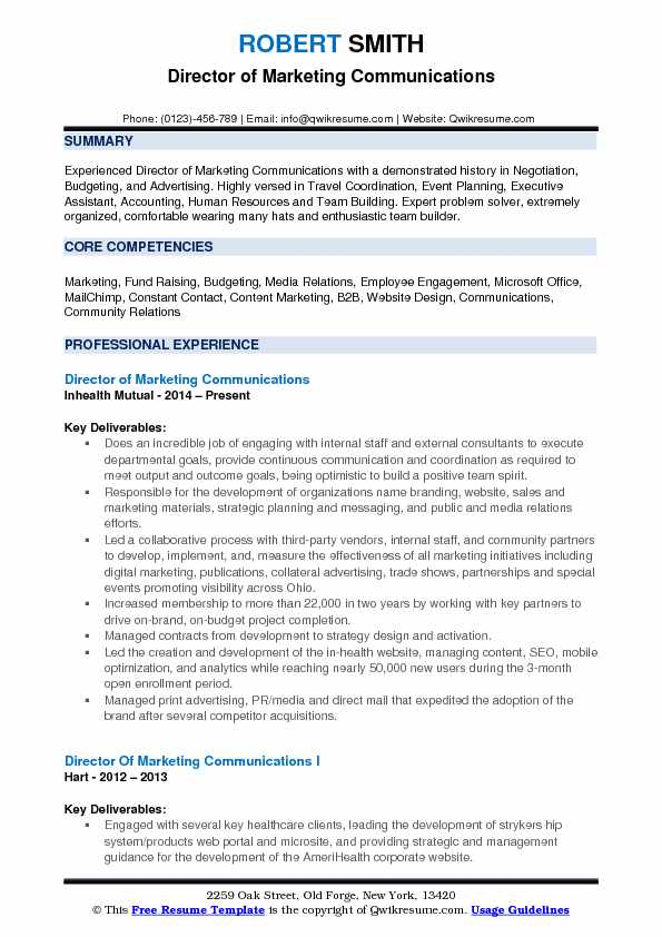 Director of Marketing Communications Resume Samples QwikResume