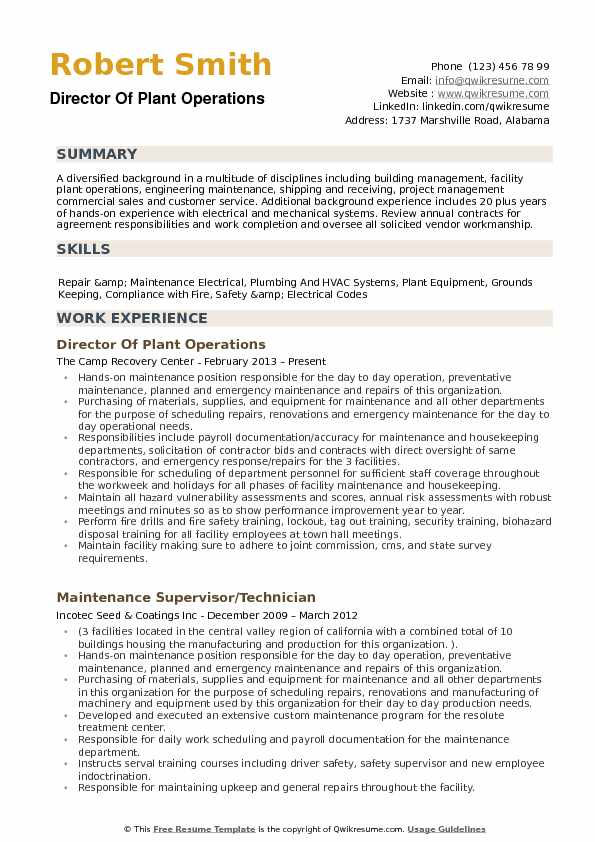 Director of Plant Operations Resume Samples QwikResume - director of operations resume sample