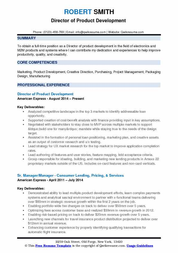 Director of Product Development Resume Samples QwikResume