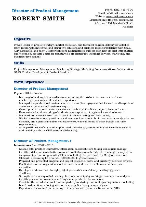 Director of Product Management Resume Samples QwikResume