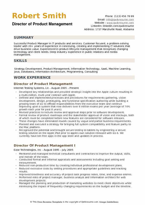 director of product management resume sample