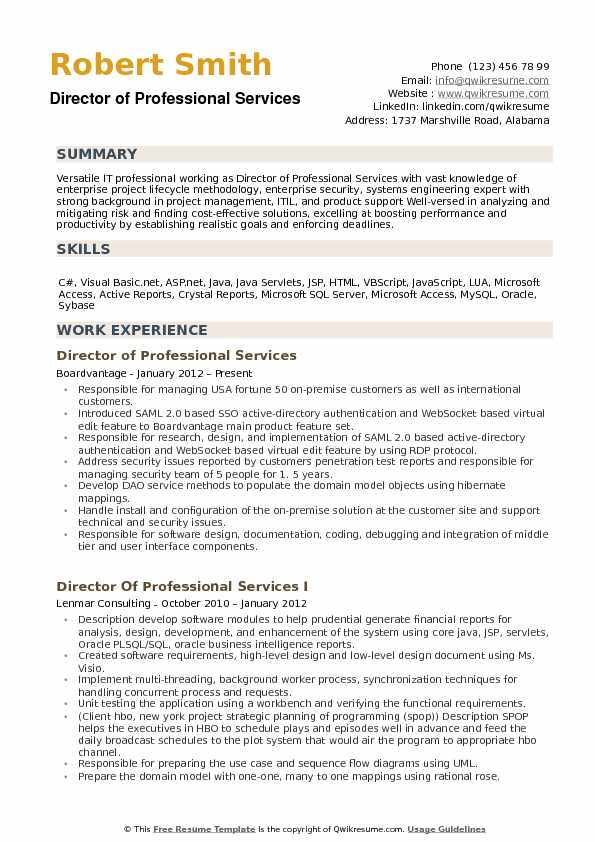 Director of Professional Services Resume Samples QwikResume