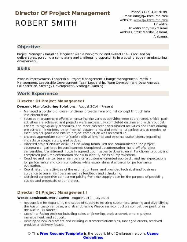 Director of Project Management Resume Samples QwikResume
