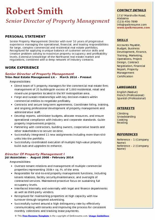 Director of Property Management Resume Samples QwikResume