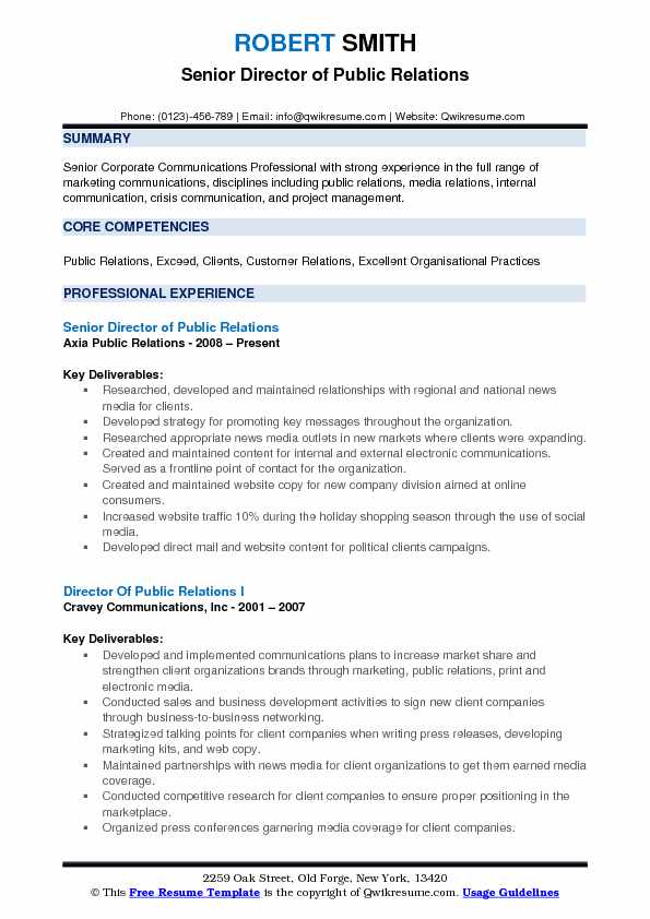 Director of Public Relations Resume Samples QwikResume
