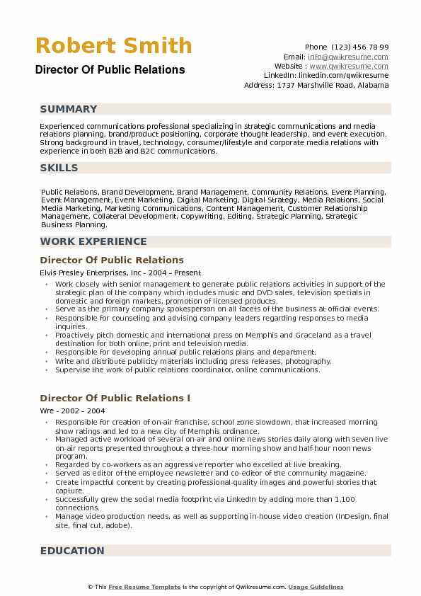 Director of Public Relations Resume Samples QwikResume - Sample Public Relations Resume