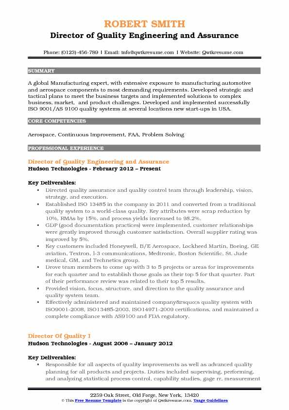 Director of Quality Resume Samples QwikResume