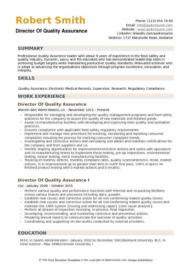 Director of Quality Assurance Resume Samples QwikResume