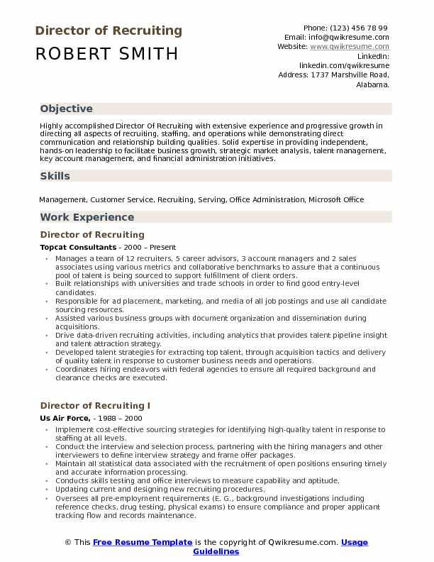 Director of Recruiting Resume Samples QwikResume